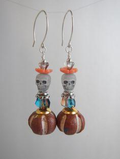 Orange Day of The Dead / Dia de las Muertos / Skull Beaded Dangle Earrings by StoneJewelsByAng on Etsy