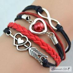 Armband Herz mit Pfeil & Infinity mit Perle schwarz...
