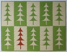 "Mini Trees, 37"" X 48"". A free pattern from Sew Kind of Wonderful using the mini quick curve ruler. Domestic machine quilted."