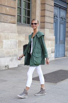 utility jacket + white jeans