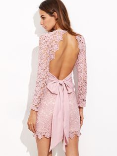Shop Pink Bow Tie Open Back Embroidered Lace Dress online. SheIn offers Pink Bow Tie Open Back Embroidered Lace Dress & more to fit your fashionable needs. Dress With Bow, Pink Dress, Lace Dress, Sexy Dresses, Nice Dresses, Short Dresses, Party Dresses, Sleeve Dresses, Wedding Dresses
