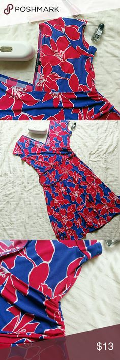 Chadwicks faux wrap dress *Price Negotiable *No Trades  Fun and flirty A-line cut dress from Chadwicks. Faux wrap style with side gathering, in a hibiscus print. Size 10. EUC  {10% off bundles of 2+ listings} Chadwicks Dresses