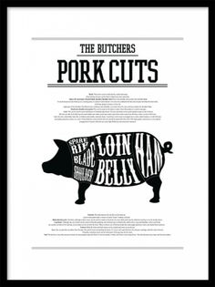 Butcher cuts poster with different cuts of pork. Stylish black and white print for the kitchen. Fits well with our other posters with cuts of beef. Buy stylish kitchen art and prints online. Kitchen Posters, Kitchen Prints, Kitchen Wall Art, Poster Photo, Poster On, Poster Prints, Art Posters, Art Prints, Guide Vin
