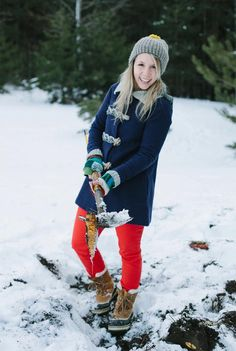 Very cute pop of color matched with the #SOREL #Caribou boots from The Fresh Exchange
