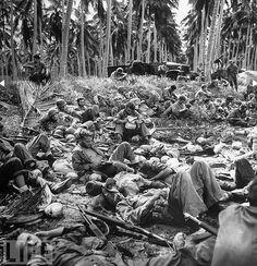 U.S. Marines get some R&R on Guadalcanal, 1942.