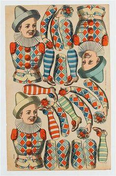 Victorian Paper Dolls, Vintage Paper Dolls, Vintage Circus, Vintage Crafts, Paper Puppets, Paper Toys, Paper Art, Paper Crafts, Marionette