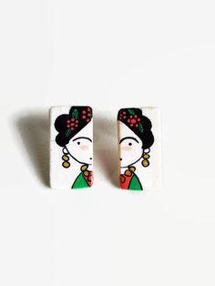 FRIDA Kahlo orecchini in legno illustrati a mano