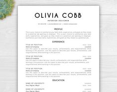 Creative Resume Template Resume For Word  Pages Resume  Resume