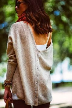 Cozy Back Button Bat Sleeves Sweater