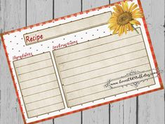 Sunflower Recipe Card. Cheerful printable recipe card  in 3 sizes including 4x6, 3.5x5 and 3x5 inches.