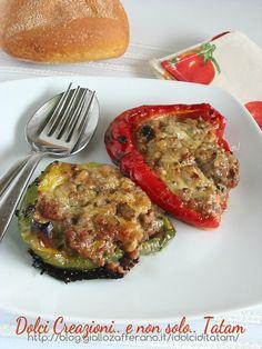 Peperoni al forno farciti con carne, una ricetta di un secondo piatto completo e abbastanza leggero, facile da preparare e non ci sono le uova nella ....