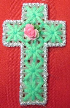 Plastic Canvas Cross in green & silver with Small by AdelesCrafts Plastic Canvas Ornaments, Plastic Canvas Tissue Boxes, Plastic Canvas Christmas, Plastic Canvas Crafts, Plastic Canvas Patterns, Plastic Craft, Yarn Crafts, Sewing Crafts, Diy Crafts