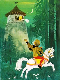 'Rapunzel' Pestalozzi Publishing, 1970, Germany Illustration by Felicitas Kuhn