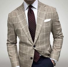 in a beige windowpane jacket with a merlot polka dot tie. Mens Fashion Blog, Mens Fashion Suits, Mens Suits, Fashion Top, Style Fashion, Suit And Tie, Well Dressed Men, Business Outfits, Gentleman Style