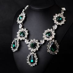 N08285 Women Fashion Jewelry emerald green bijoux  luxury brand  Statement Pendant Necklace  Chunky Choker Collar