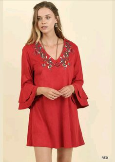 NWT UMGEE Off Shoulder Embroidered Red Ruffled Sleeve Boho Chic Hippie Dress