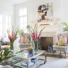 Large Fireplace with Dove Gray Wingback Chairs and Pink Zebra Pillows