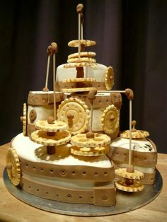 Steam punk cake 21st 3 tier cogs and wheels