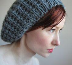 Dark grey knit beret.