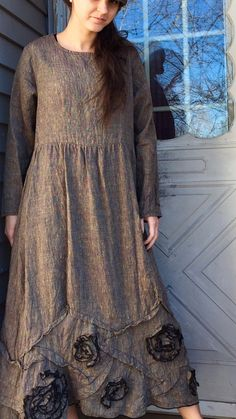 Crossweave Linen Long Swirly Dress S by sarahclemensclothing