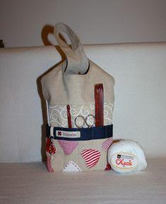 Universaltäschchen - ** Strick - Beutel, Handarbeitskorb Knotentasche** - ein Designerstück von Kaepseles bei DaWanda