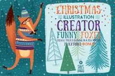 Christmas Illustration Creator/Foxes by Stella's Graphic Supply. 5 funny foxes +  60 winter and Christmas elements. For Photoshop.