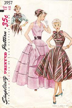 Vintage 1950s Halter Style Evening Dress  by daisyepochvintage, $24.00