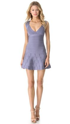 Herve Leger Mirah Dress with Detailed Hem in chambray $1290