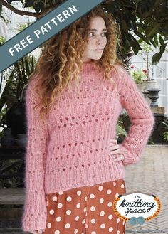 Wrap yourself in the warmth of this pink knitted lace sweater. This fitted sweater, with its delicate and feminine look, radiates elegance and poise making it a thoughtful handmade present to your best friends. | Discover over 4,000 free knitting patterns at theknittingspace.com #knitpatternsfree  #fallknittingpatterns #fallknittingprojects #fallknits #springknittingproject #springknittingpatterns #homemadegift Fall Knitting Patterns, Lace Knitting, Knitting Projects, Flora Pattern, Free Pattern, Lace Sweater, Sweater Cardigan, Knitted Poncho, Cute Skirts