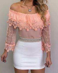 Plain Lace Off Shoulder Long Sleeve Women's Blouse Fashion Sale, Look Fashion, Female Fashion, Blouse Styles, Blouse Designs, Workwear Fashion, Fashion Outfits, Valentines Lingerie, African Fashion Dresses