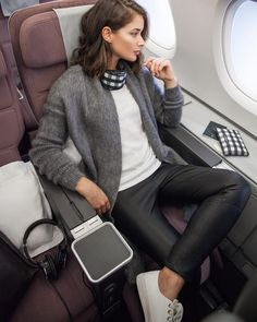 """""""Totally how I fly, but with seatbelt on and makeup off, and most likely watching Modern Family and New Girl and awkwardly laughing out loud . Loved…"""""""