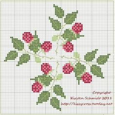 Raspberries punto de cruz May be perfect for a biscornu Biscornu Cross Stitch, Cross Stitch Fruit, Cross Stitch Kitchen, Cross Stitch Love, Cross Stitch Flowers, Cross Stitch Charts, Cross Stitch Designs, Cross Stitch Embroidery, Embroidery Patterns