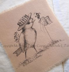 Original Pen Ink on Fabric Illustration Quilt Label by Michelle Palmer Americana Patriotic USA Sparrow Bird Bumble Bee Flag