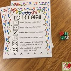 An Apple For The Teacher: Roll and Retell - Building Summarizing, Communication, and Writing Skills Reading Strategies, Reading Activities, Teaching Reading, Teaching Math, Reading Comprehension, Learning, Teaching Ideas, Guided Reading, Teaching Tools