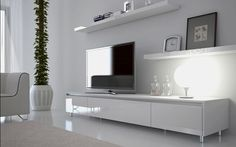 Ikea white tv stand white unit entertainment unit white entertainment unit simple elegant however need to White Entertainment Unit, Entertainment Center Kitchen, White Tv Unit, Floating Cabinets, Floating Shelves, Tv Decor, Home Decor, Tv Cabinets, Home Interior