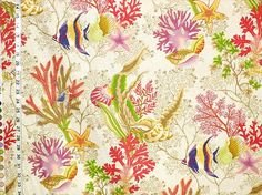 Coral reef fabric angelfish seahorse tan destash deestash- 2 yards from Brick House Fabric: Novelty Fabric