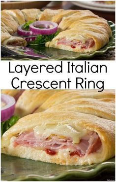 Make a melty Italian sandwich big enough to feed the whole family, with our recipe for Layered Italian Crescent Ring. It& a family-favorite that& ready in under 30 minutes! Italian Recipes, New Recipes, Cooking Recipes, Favorite Recipes, Healthy Recipes, Easy Recipes, Budget Cooking, Pampered Chef Recipes, Cooking Bacon