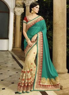 Teal and Beige half n half embroidery work saree
