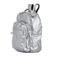 Kipling Seoul Metallic Laptop Backpack - Platinum Metallic - Kipling #kipling #fashion #ss16