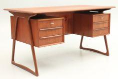 Small teak desk from the 1960s. Designed and produced in Denmark, Scandinavia. Attributed Peter Løvig Nielsen. www.reModern.dk