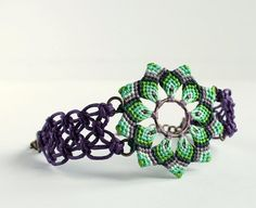 Macrame mandala flower bracelet boho hippie green by KnottedWorld