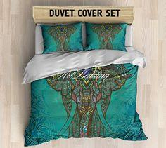 Bohemian bedding, Bohemian queen / king / full / twin bedding, elephant ethno duvet cover, Bohemian duvet cover set, bohemian duvet cover