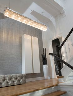 A customised Delphinium in a private interior in Germany. See how our contemporary chandeliers and modern light fixtures could fit into your interior design at WWW. Custom Lighting, Modern Lighting, Lighting Design, Modern Light Fixtures, Contemporary Chandelier, Light Installation, How To Make Light, Luxury Interior Design, Interior Lighting