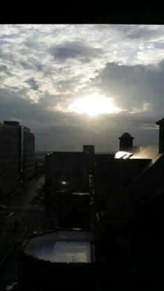 The sun peering through