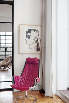 vintage pink leather armchair
