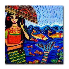 50% OFF - Mermaid art Tile Ceramic Coaster Mexican Folk Art Print of painting by Heather Galler dog