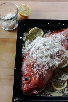 Whole fish baked in sea salt