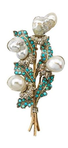 """BUCCELLATI JEWELED GOLD BOUQUET BROOCH - Baroque pearl flower heads and white gold rose cut diamond petals among turquoise set leaves, mid 20th c. Incused mark Buccellati. 3 1/4"""". 19.8 dwt."""