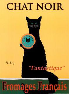 Cats in Illustration: Chat Noir Vintage Advertising Posters, Vintage Advertisements, Vintage Ads, Vintage Posters, Vintage Food, I Love Cats, Crazy Cats, Cool Cats, Black Cat Art