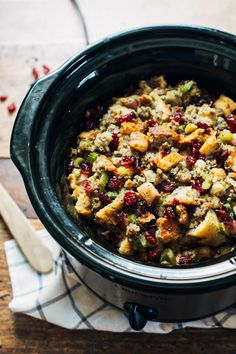Slow Cooker Pear and Sausage Stuffing   11 Amazing Crock Pot Stuffing Recipes To Save Oven Space